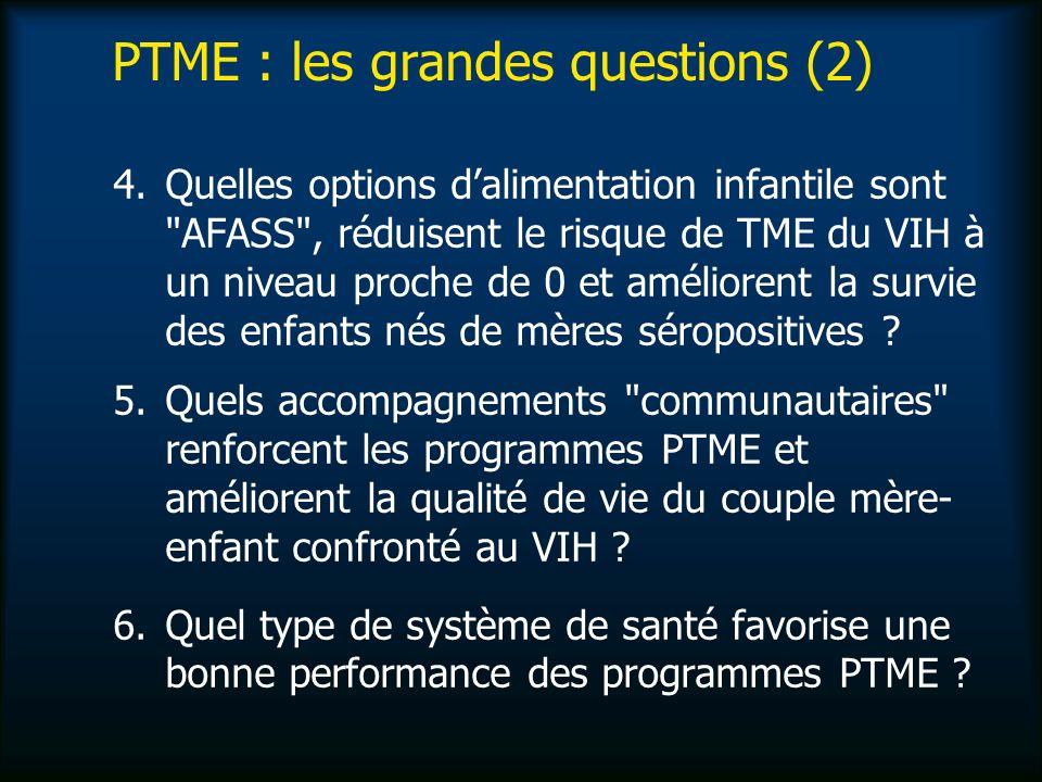 PTME : les grandes questions (2) 4.Quelles options dalimentation infantile sont AFASS , réduisent le risque de TME du VIH à un niveau proche de 0 et améliorent la survie des enfants nés de mères séropositives .
