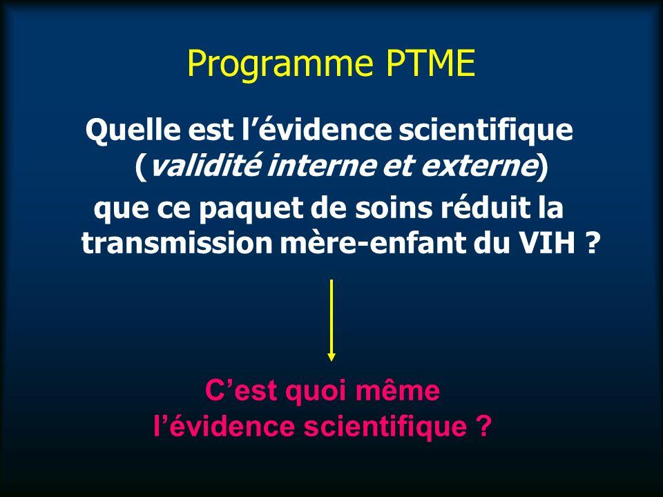 Programme PTME Quelle est lévidence scientifique (validité interne et externe) que ce paquet de soins réduit la transmission mère-enfant du VIH .