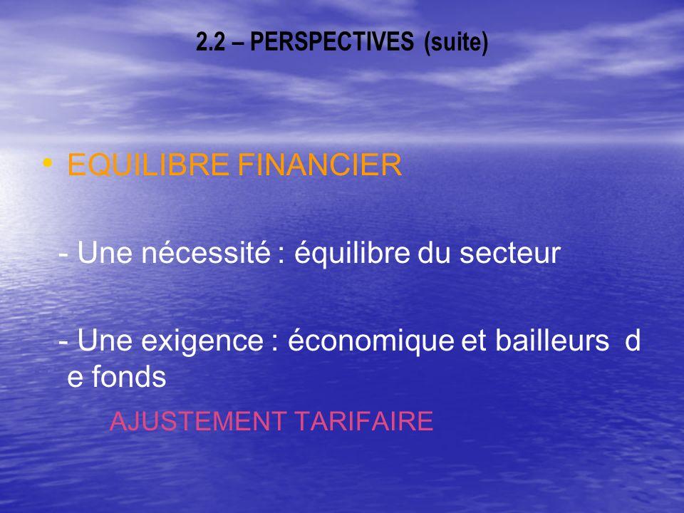 2.2 – PERSPECTIVES (suite) EQUILIBRE FINANCIER - Une nécessité : équilibre du secteur - Une exigence : économique et bailleurs d e fonds AJUSTEMENT TARIFAIRE