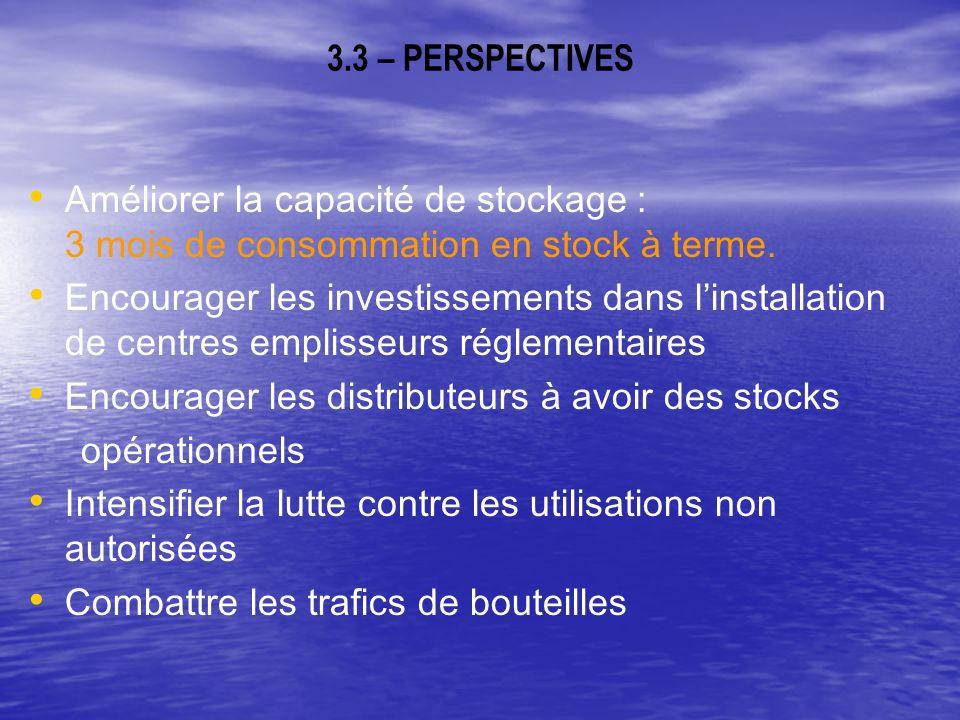 3.3 – PERSPECTIVES Améliorer la capacité de stockage : 3 mois de consommation en stock à terme.