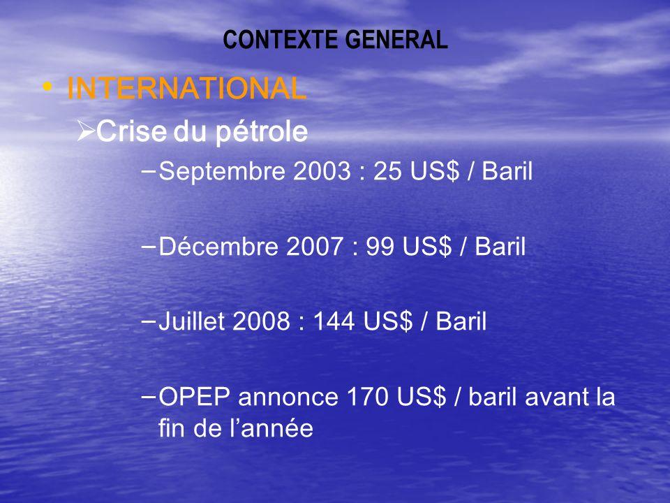 CONTEXTE GENERAL (suite) Causes : - Forte demande (Chine, Inde) - Baisse des réserves mondiales - Dérégulation des marchés et spéculation -Insécurité dans lapprovisionnement : Irak, Iran, Darfour, Nigeria …