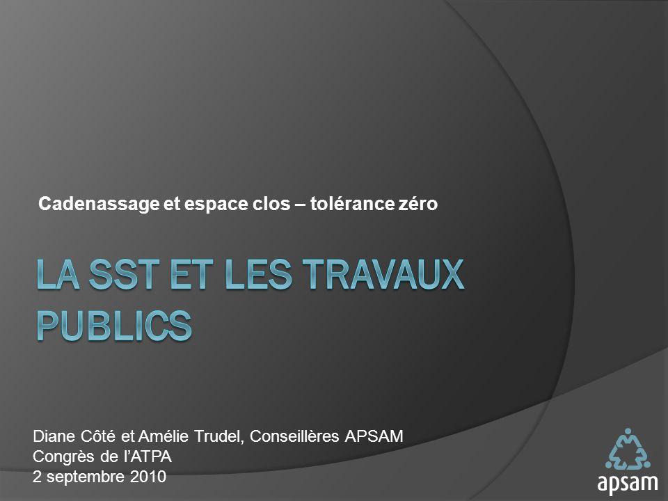 Cadenassage et espace clos – tolérance zéro Diane Côté et Amélie Trudel, Conseillères APSAM Congrès de lATPA 2 septembre 2010