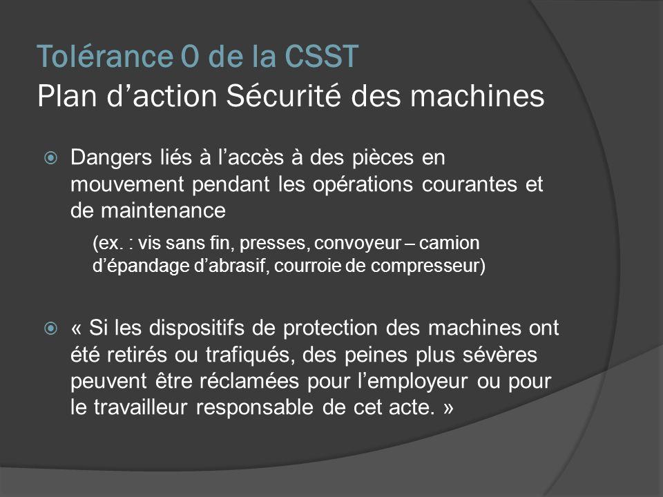 Tolérance 0 de la CSST Plan daction Sécurité des machines Dangers liés à laccès à des pièces en mouvement pendant les opérations courantes et de maintenance (ex.