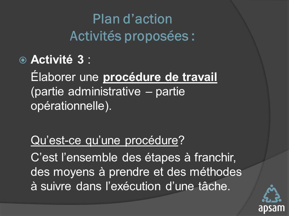 Plan daction Activités proposées : Activité 3 : Élaborer une procédure de travail (partie administrative – partie opérationnelle).