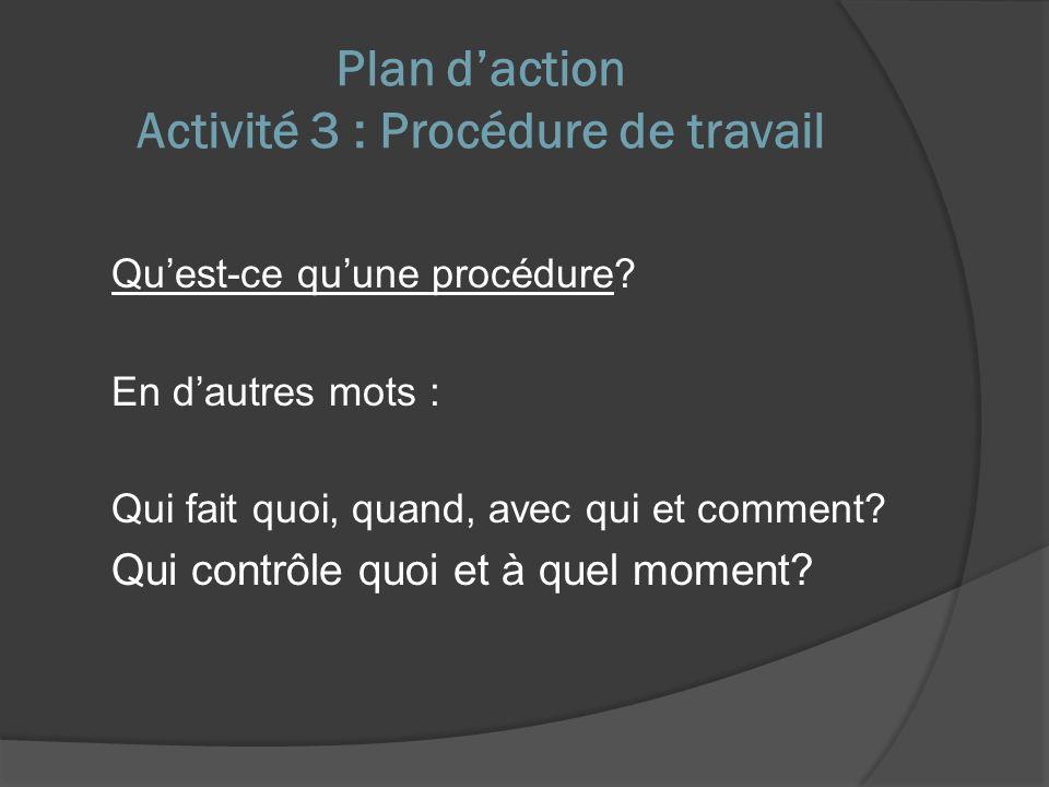 Plan daction Activité 3 : Procédure de travail Quest-ce quune procédure.