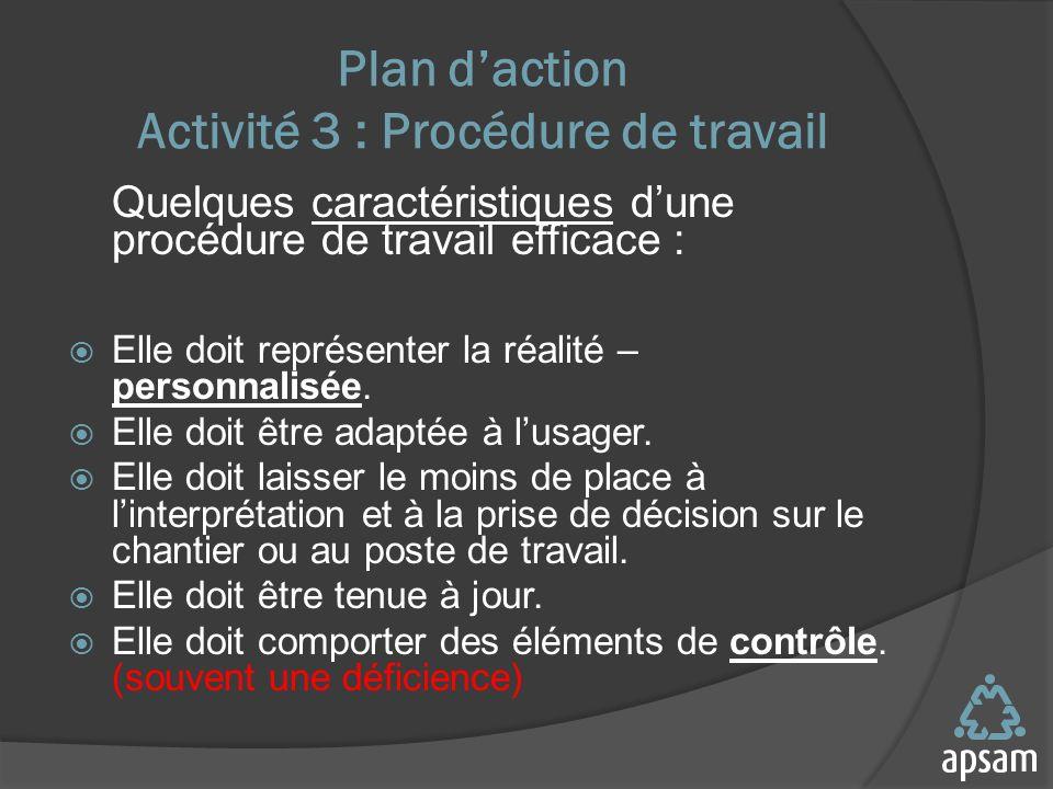 Plan daction Activité 3 : Procédure de travail Quelques caractéristiques dune procédure de travail efficace : Elle doit représenter la réalité – personnalisée.