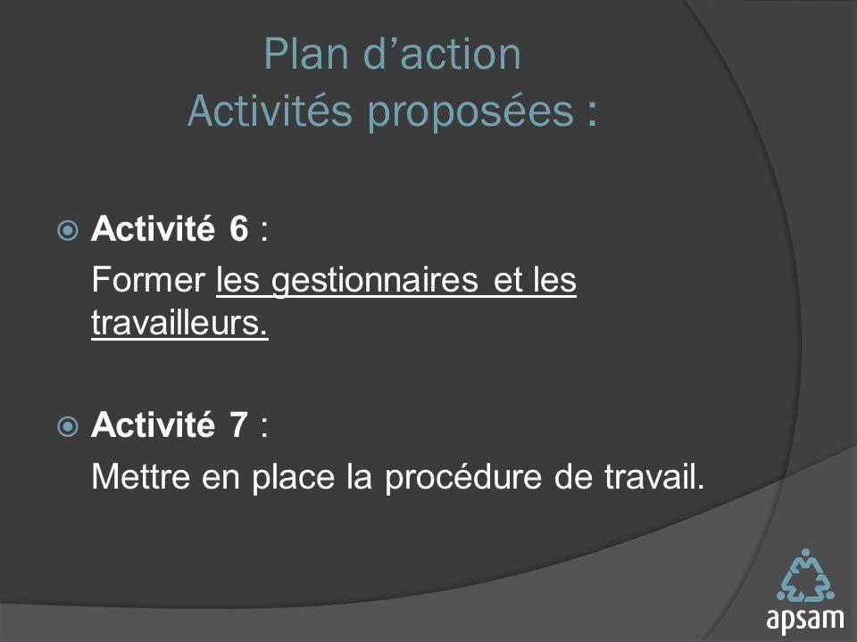 Plan daction Activités proposées : Activité 6 : Former les gestionnaires et les travailleurs.