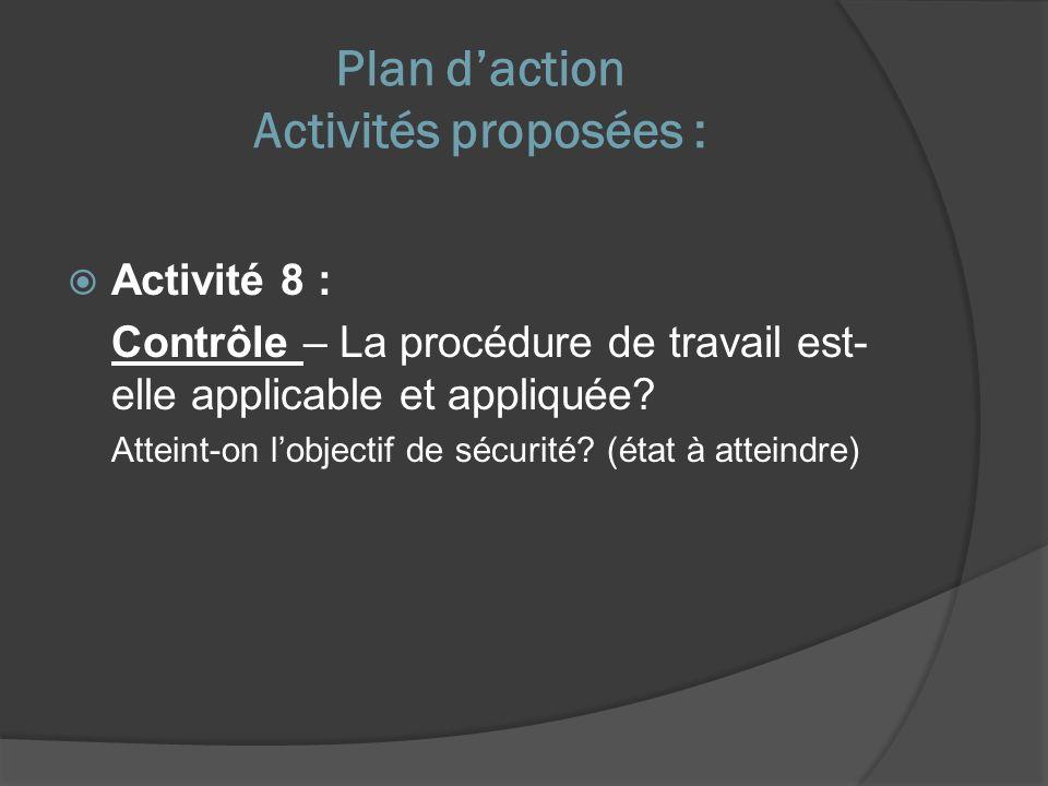 Plan daction Activités proposées : Activité 8 : Contrôle – La procédure de travail est- elle applicable et appliquée.