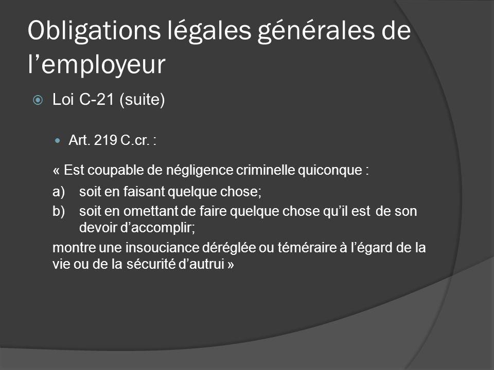 Obligations légales générales de lemployeur Loi C-21 (suite) Art.