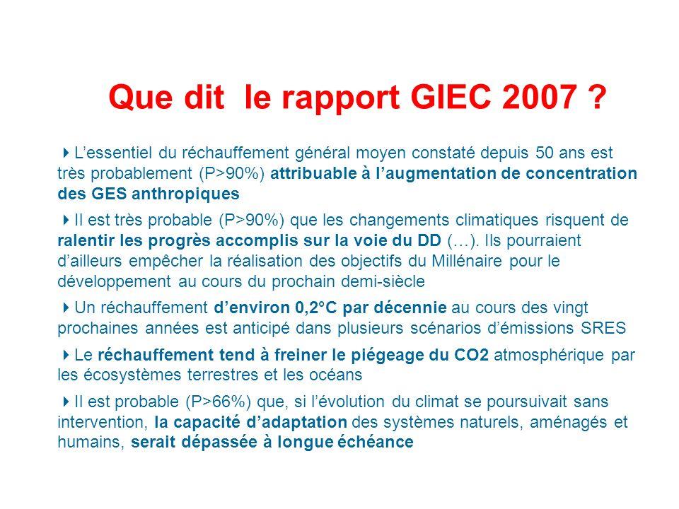 Que dit le rapport GIEC 2007 .