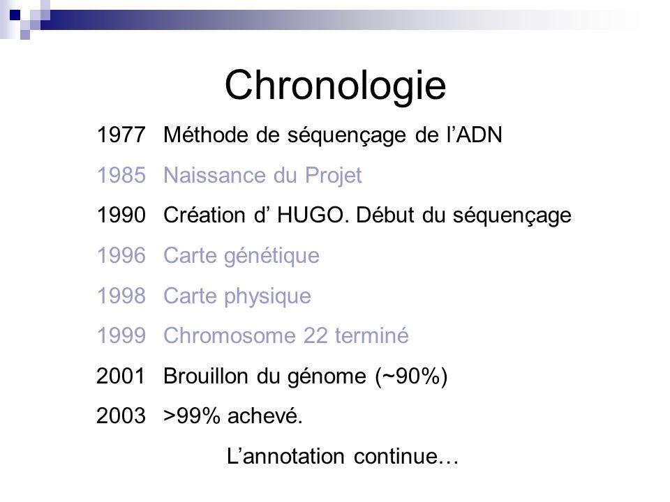Chronologie 1977 Méthode de séquençage de lADN 1985 Naissance du Projet 1990Création d HUGO. Début du séquençage 1996Carte génétique 1998Carte physiqu