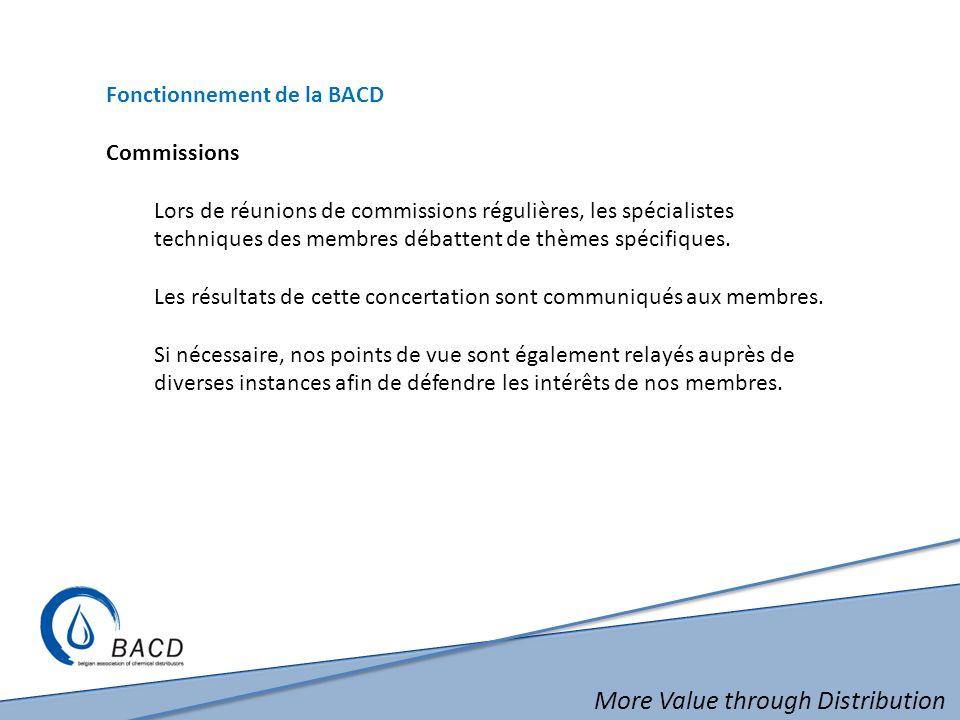 More Value through Distribution Fonctionnement de la BACD Commissions Lors de réunions de commissions régulières, les spécialistes techniques des memb