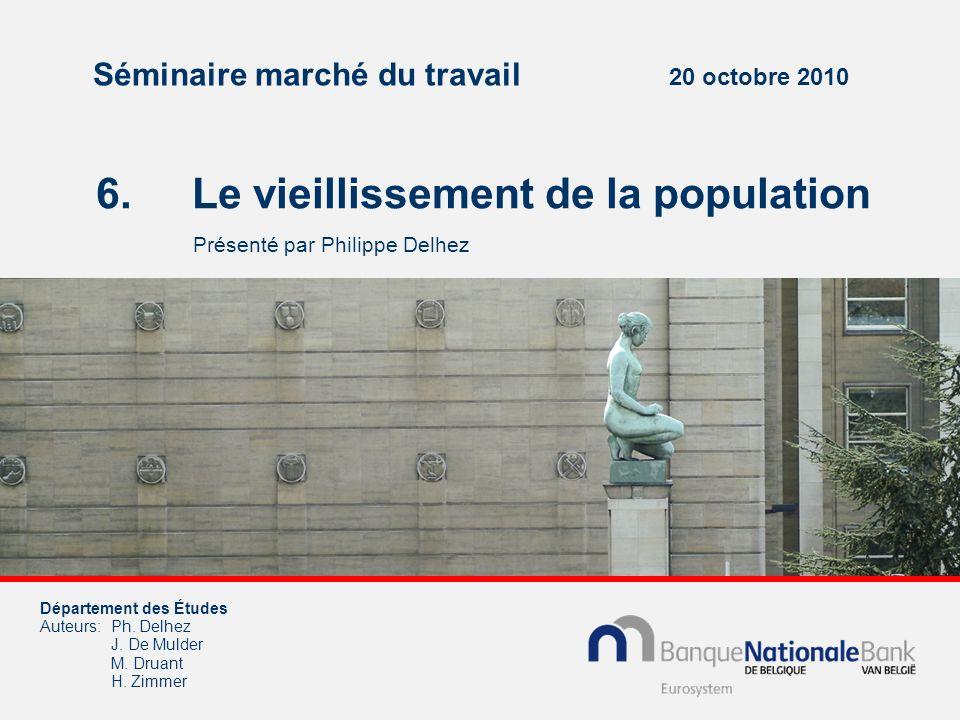 Séminaire marché du travail 20 octobre 2010 6. Le vieillissement de la population Présenté par Philippe Delhez Département des Études Auteurs:Ph. Delh