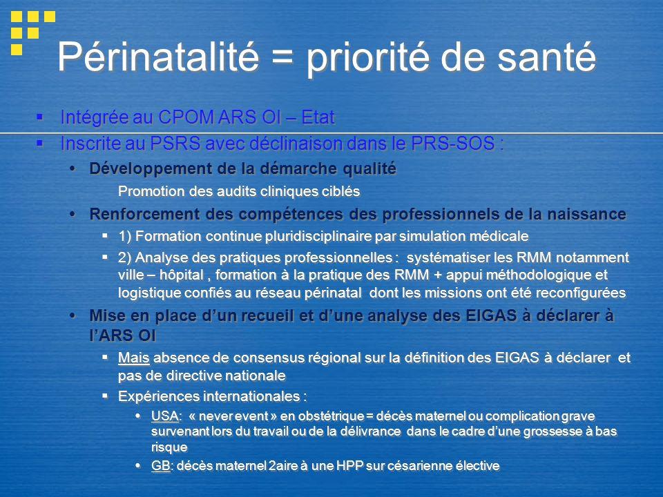 Périnatalité = priorité de santé Intégrée au CPOM ARS OI – Etat Inscrite au PSRS avec déclinaison dans le PRS-SOS : Développement de la démarche quali