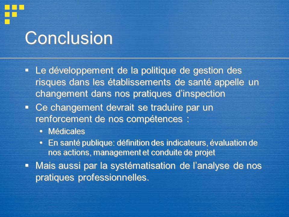 Conclusion Le développement de la politique de gestion des risques dans les établissements de santé appelle un changement dans nos pratiques dinspecti