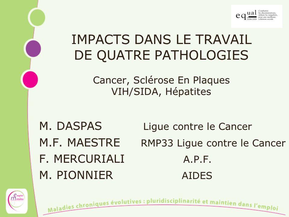 IMPACTS DANS LE TRAVAIL DE QUATRE PATHOLOGIES Cancer, Sclérose En Plaques VIH/SIDA, Hépatites M. DASPAS Ligue contre le Cancer M.F. MAESTRE RMP33 Ligu
