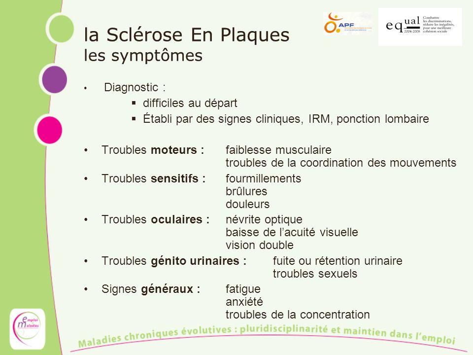 la Sclérose En Plaques les symptômes Diagnostic : difficiles au départ Établi par des signes cliniques, IRM, ponction lombaire Troubles moteurs :faibl