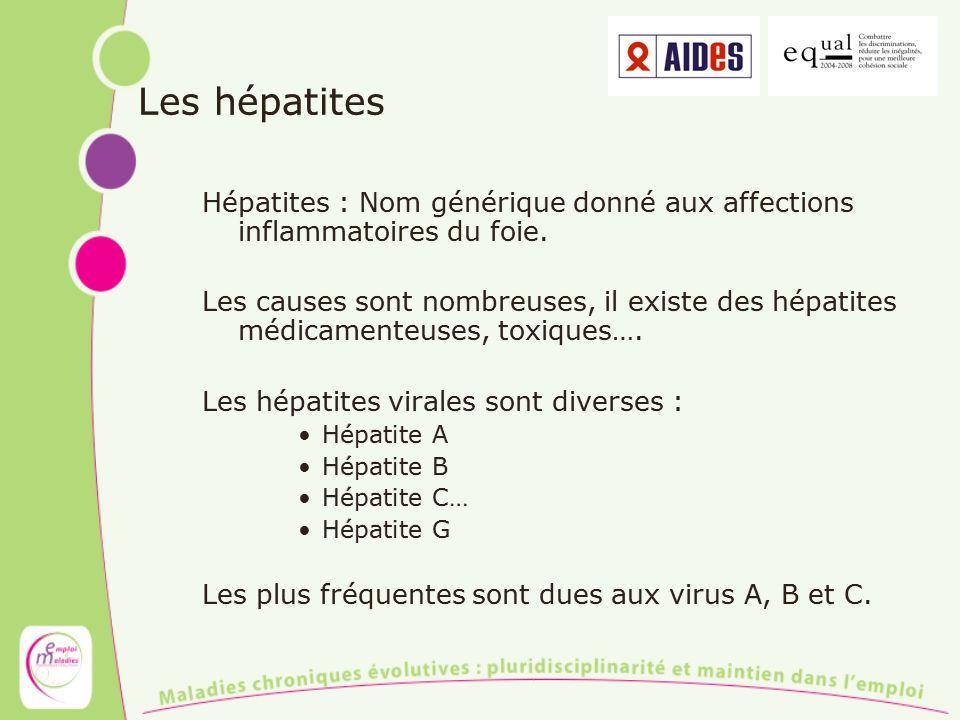 Les hépatites Hépatites : Nom générique donné aux affections inflammatoires du foie. Les causes sont nombreuses, il existe des hépatites médicamenteus