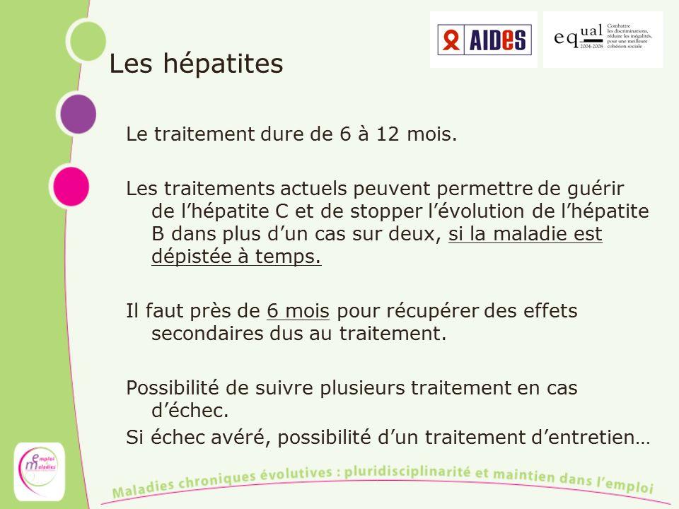 Les hépatites Le traitement dure de 6 à 12 mois. Les traitements actuels peuvent permettre de guérir de lhépatite C et de stopper lévolution de lhépat