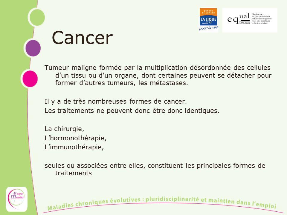 Cancer Tumeur maligne formée par la multiplication désordonnée des cellules dun tissu ou dun organe, dont certaines peuvent se détacher pour former da