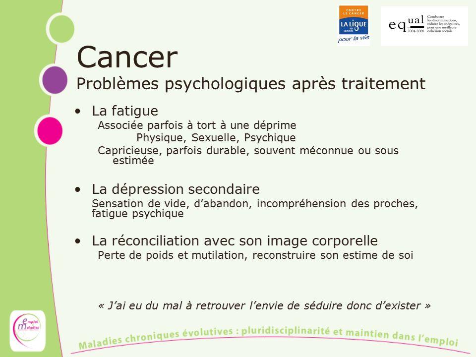 Cancer Problèmes psychologiques après traitement La fatigue Associée parfois à tort à une déprime Physique, Sexuelle, Psychique Capricieuse, parfois d