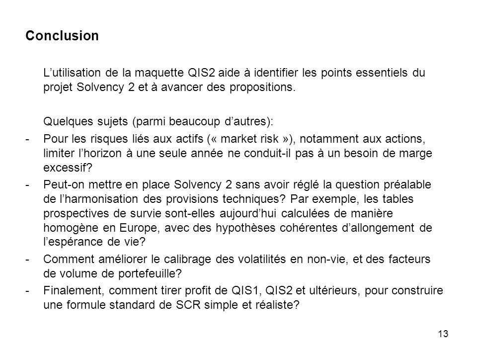 13 Conclusion Lutilisation de la maquette QIS2 aide à identifier les points essentiels du projet Solvency 2 et à avancer des propositions. Quelques su