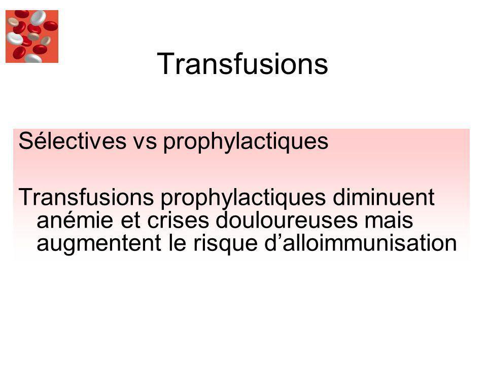 Transfusions Sélectives vs prophylactiques Transfusions prophylactiques diminuent anémie et crises douloureuses mais augmentent le risque dalloimmunisation