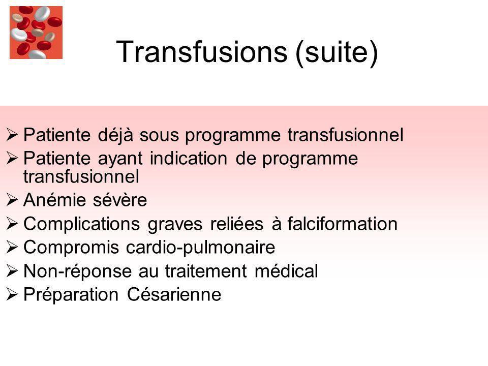 Transfusions (suite) Patiente déjà sous programme transfusionnel Patiente ayant indication de programme transfusionnel Anémie sévère Complications graves reliées à falciformation Compromis cardio-pulmonaire Non-réponse au traitement médical Préparation Césarienne