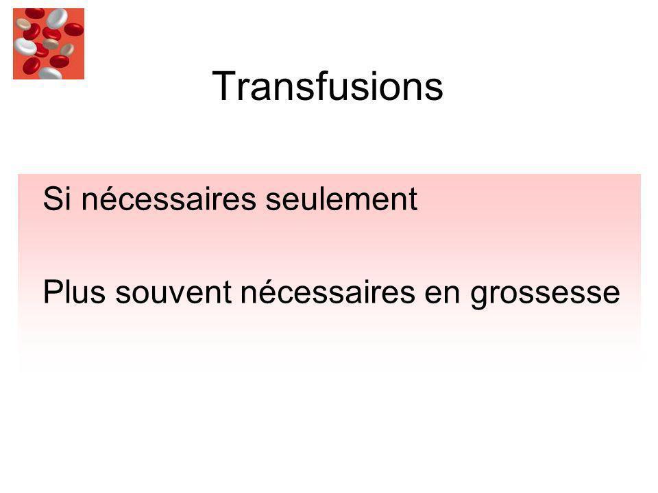 Transfusions Si nécessaires seulement Plus souvent nécessaires en grossesse