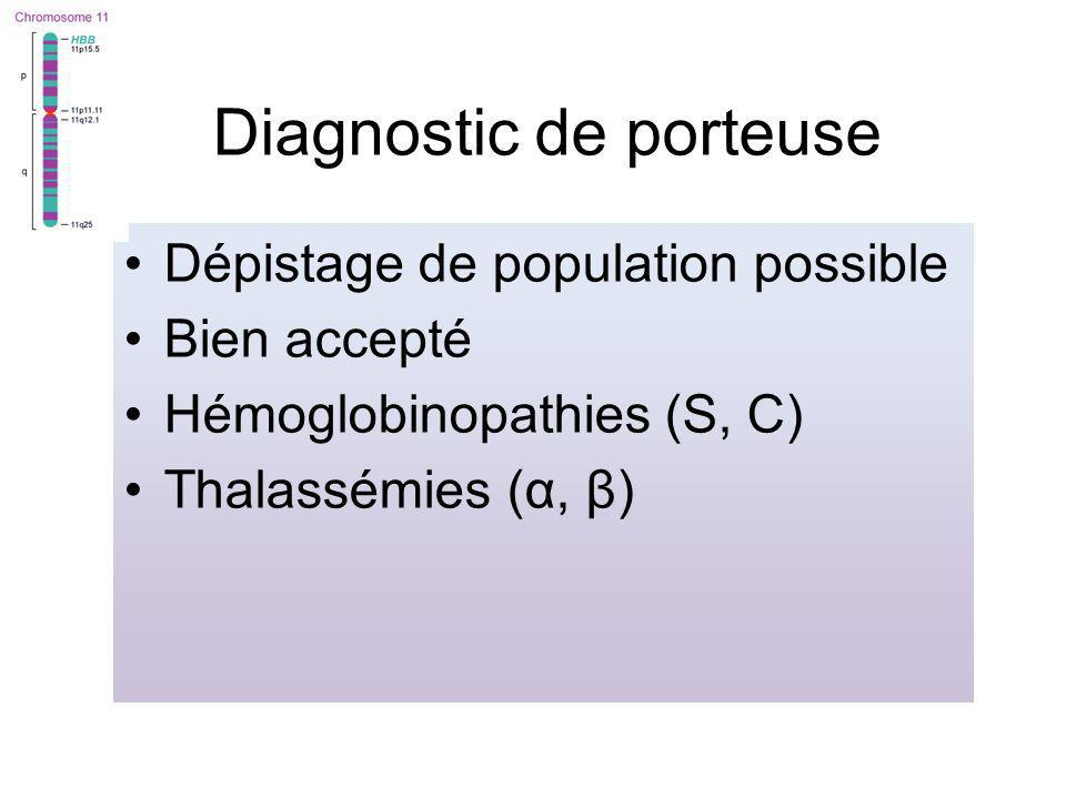 Diagnostic de porteuse Dépistage de population possible Bien accepté Hémoglobinopathies (S, C) Thalassémies (α, β)