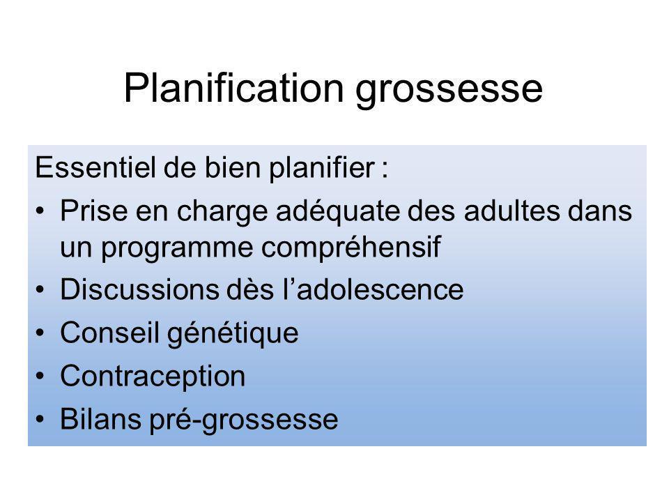 Planification grossesse Essentiel de bien planifier : Prise en charge adéquate des adultes dans un programme compréhensif Discussions dès ladolescence Conseil génétique Contraception Bilans pré-grossesse