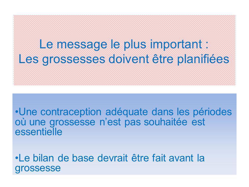 Le message le plus important : Les grossesses doivent être planifiées Une contraception adéquate dans les périodes où une grossesse nest pas souhaitée est essentielle Le bilan de base devrait être fait avant la grossesse
