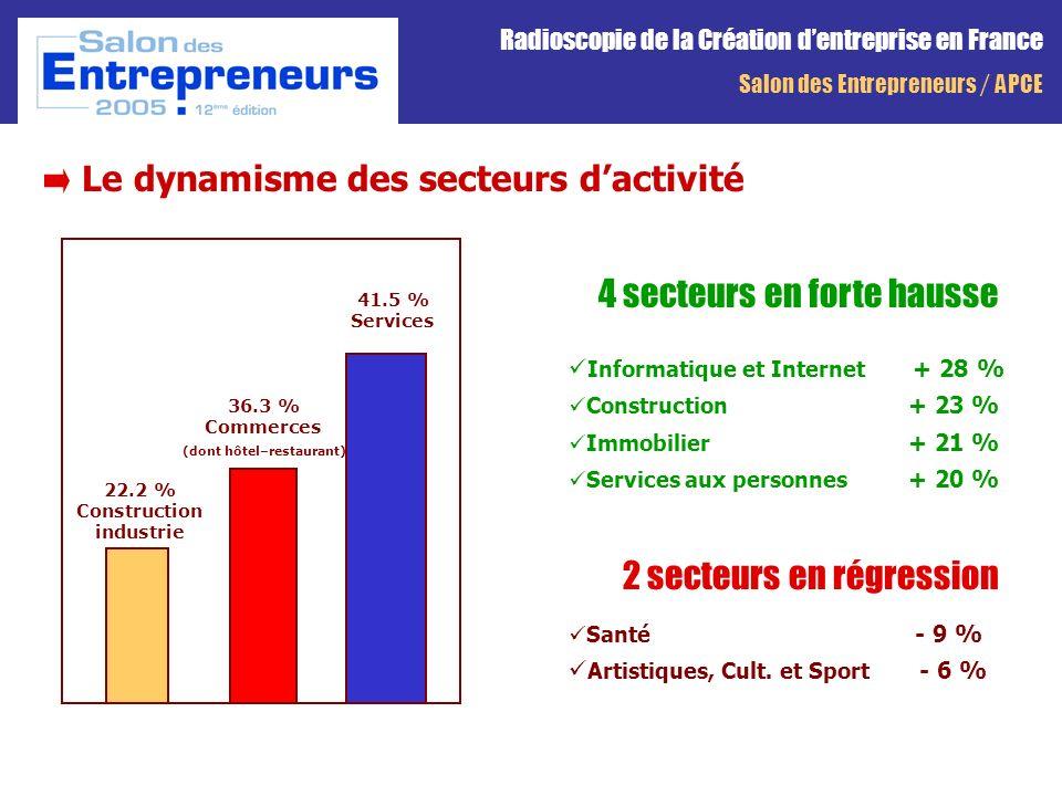 Le dynamisme des secteurs 4 secteurs en forte hausse Informatique et Internet + 28 % Construction + 23 % Immobilier + 21 % Services aux personnes + 20 % 2 secteurs en régression Santé - 9 % Artistiques, Cult.