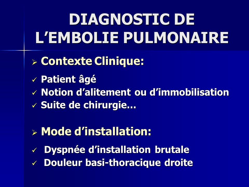 DIAGNOSTIC DE LEMBOLIE PULMONAIRE Contexte Clinique: Contexte Clinique: Patient âgé Patient âgé Notion dalitement ou dimmobilisation Notion dalitement
