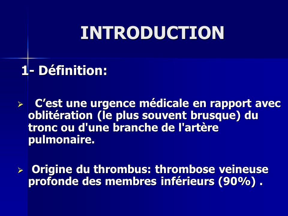 INTRODUCTION 1- Définition: 1- Définition: Cest une urgence médicale en rapport avec oblitération (le plus souvent brusque) du tronc ou d'une branche