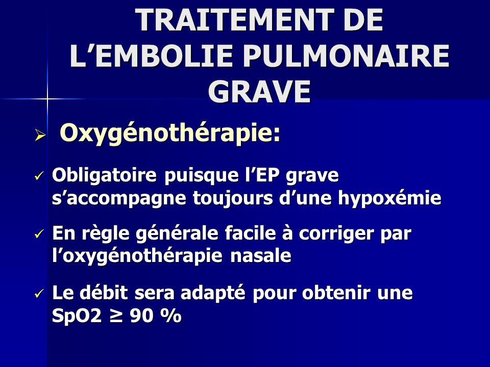 TRAITEMENT DE LEMBOLIE PULMONAIRE GRAVE Oxygénothérapie: Oxygénothérapie: Obligatoire puisque lEP grave saccompagne toujours dune hypoxémie Obligatoir