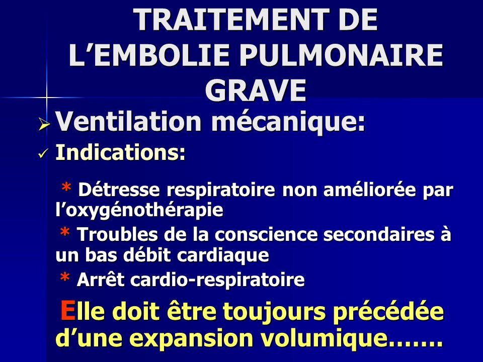 TRAITEMENT DE LEMBOLIE PULMONAIRE GRAVE Ventilation mécanique: Ventilation mécanique: Mode: Mode: * VAC * VAC * Volume Courant: 8 à 10 ml/ kg * Volume Courant: 8 à 10 ml/ kg * FR: 12-16 cycles/ min * FR: 12-16 cycles/ min