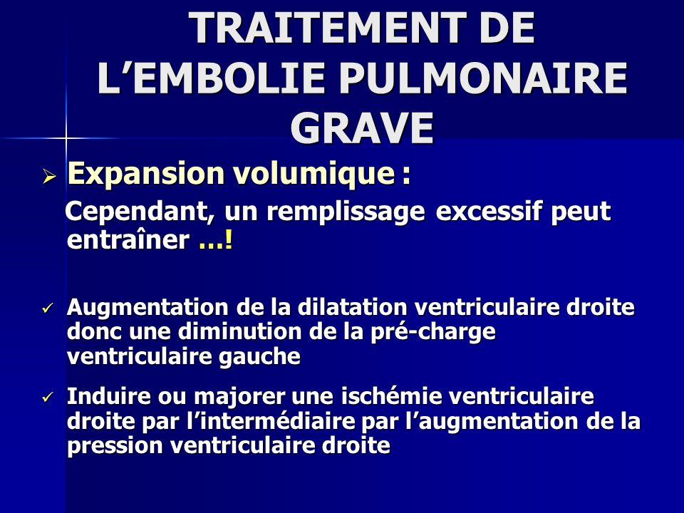 TRAITEMENT DE LEMBOLIE PULMONAIRE GRAVE Médicaments Inotropes [2]: Médicaments Inotropes [2]: Dobutamine: 5 à 20 δ/Kg/min [2]:Augmente le débit cardiaque par: Dobutamine: 5 à 20 δ/Kg/min [2]:Augmente le débit cardiaque par: * augmentation du VES * augmentation du VES * pas de tachycardie associée * pas de tachycardie associée Si Echec : le recours à la noradrénaline simpose Si Echec : le recours à la noradrénaline simpose [2]: Jardin F ; CCM 1985 [2]: Jardin F ; CCM 1985