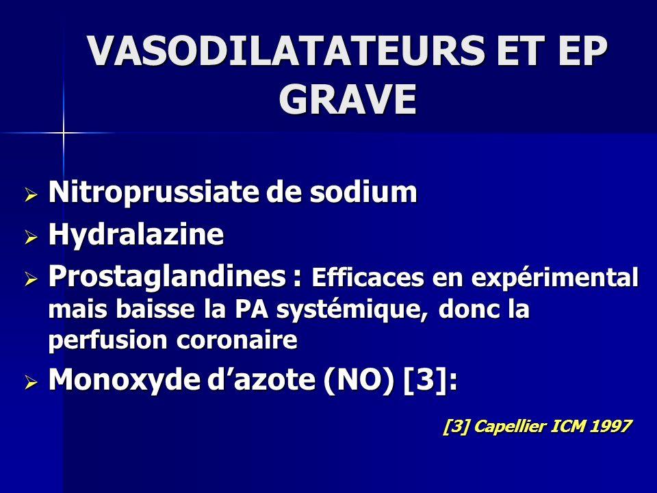 VASODILATATEURS ET EP GRAVE Nitroprussiate de sodium Nitroprussiate de sodium Hydralazine Hydralazine Prostaglandines : Efficaces en expérimental mais