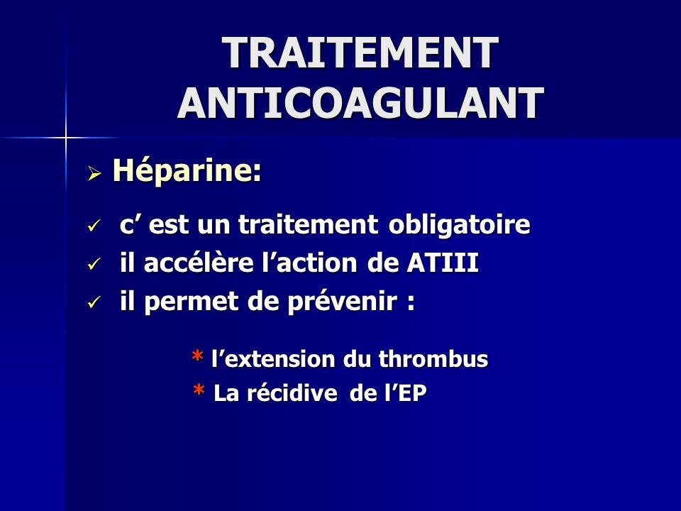 TRAITEMENT ANTICOAGULANT Héparine: protocole Héparine: protocole Bolus de 5000 à 10000 UI puis, Bolus de 5000 à 10000 UI puis, 300 à 500 UI/kg/j avec ajustement des 300 à 500 UI/kg/j avec ajustement des doses en fonction du TCA ( 2 fois le témoin) doses en fonction du TCA ( 2 fois le témoin) ou lactivité anti-Xa ou lactivité anti-Xa Relais troisième jour par les AVK Relais troisième jour par les AVK
