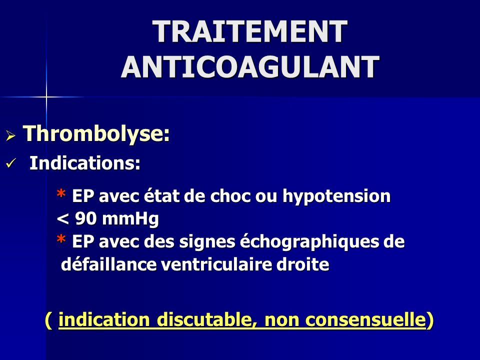 TRAITEMENT ANTICOAGULANT Thrombolyse: Thrombolyse: Indications: Indications: * EP avec état de choc ou hypotension * EP avec état de choc ou hypotensi