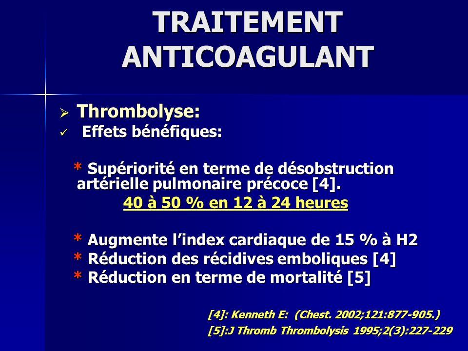 TRAITEMENT ANTICOAGULANT Thrombolyse: Thrombolyse: Effets bénéfiques: Effets bénéfiques: * Supériorité en terme de désobstruction artérielle pulmonair