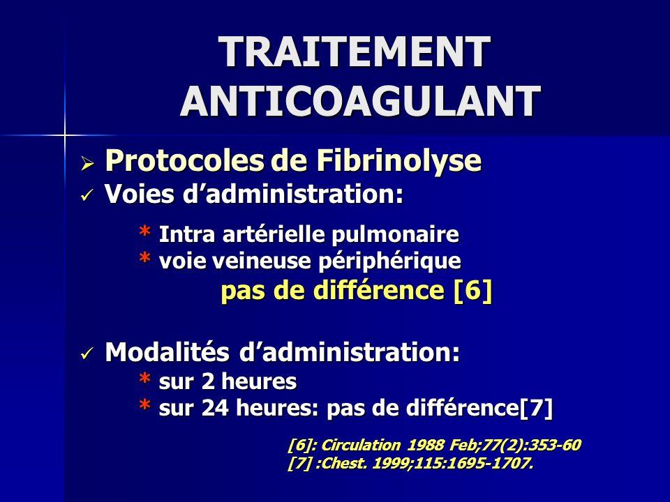 TRAITEMENT ANTICOAGULANT Protocoles de Fibrinolyse Protocoles de Fibrinolyse Voies dadministration: Voies dadministration: * Intra artérielle pulmonai