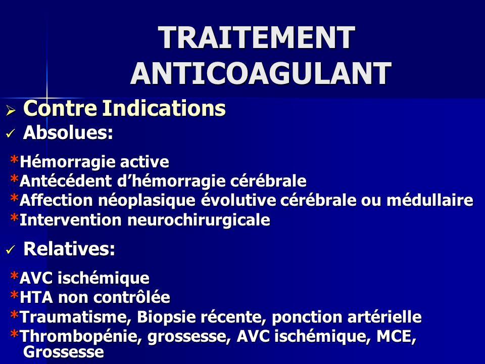 TRAITEMENT ANTICOAGULANT Contre Indications Contre Indications Absolues: Absolues: *Hémorragie active *Hémorragie active *Antécédent dhémorragie céréb
