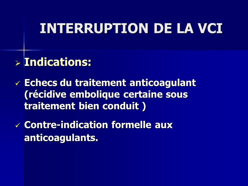 INTERRUPTION DE LA VCI Indications: Indications: Echecs du traitement anticoagulant (récidive embolique certaine sous traitement bien conduit ) Echecs