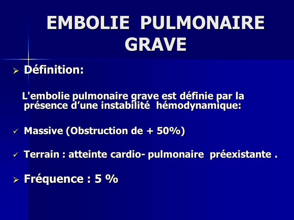 EMBOLIE PULMONAIRE GRAVE Définition: Définition: L'embolie pulmonaire grave est définie par la présence dune instabilité hémodynamique: L'embolie pulm