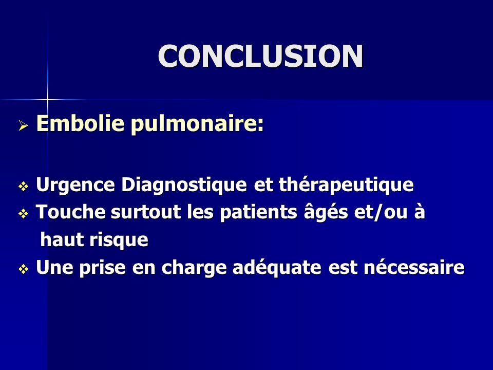 CONCLUSION Embolie pulmonaire: Embolie pulmonaire: Urgence Diagnostique et thérapeutique Urgence Diagnostique et thérapeutique Touche surtout les pati