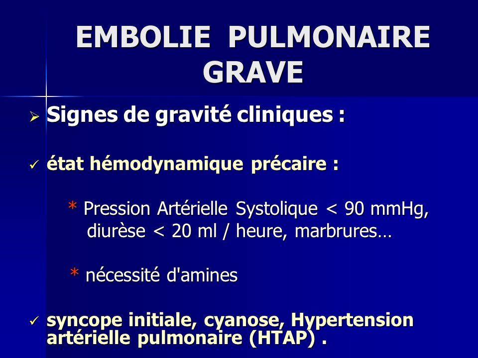 EMBOLIE PULMONAIRE GRAVE Signes de gravité cliniques : Signes de gravité cliniques : état hémodynamique précaire : état hémodynamique précaire : * Pre