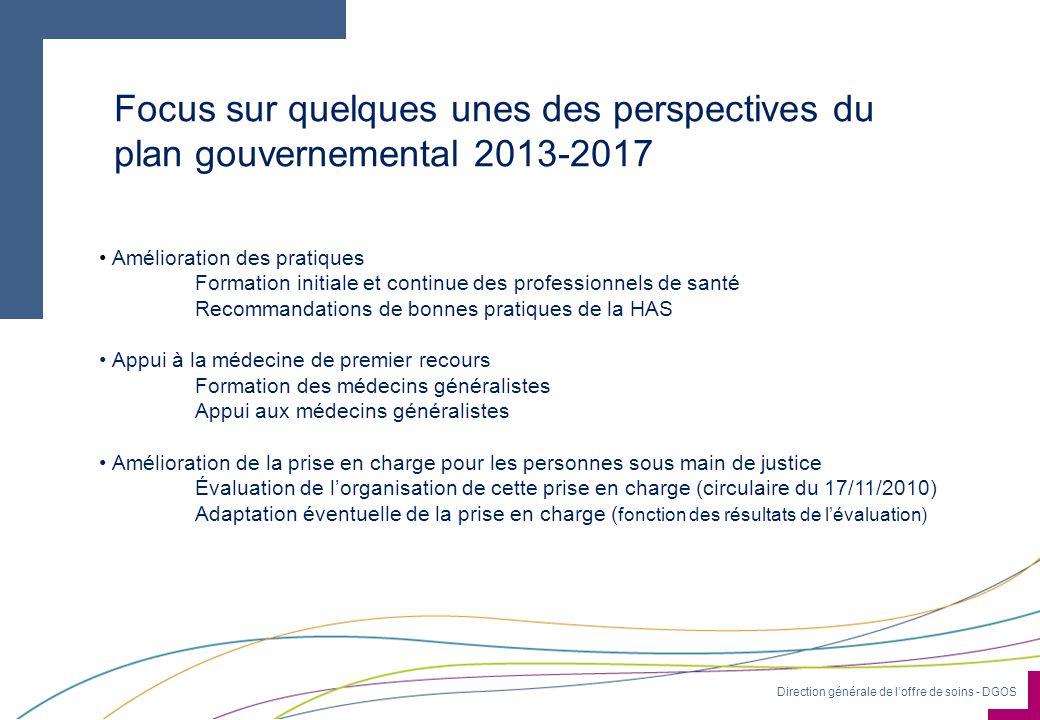 Direction générale de loffre de soins - DGOS Focus sur quelques unes des perspectives du plan gouvernemental 2013-2017 Amélioration des pratiques Form