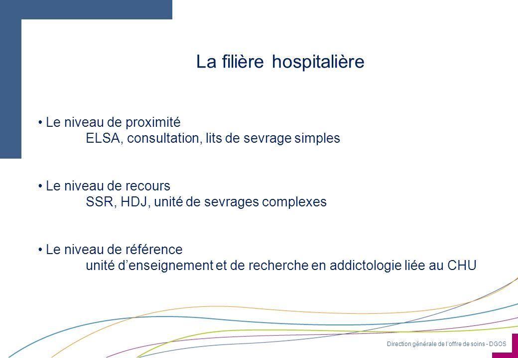 Direction générale de loffre de soins - DGOS La filière hospitalière Le niveau de proximité ELSA, consultation, lits de sevrage simples Le niveau de r